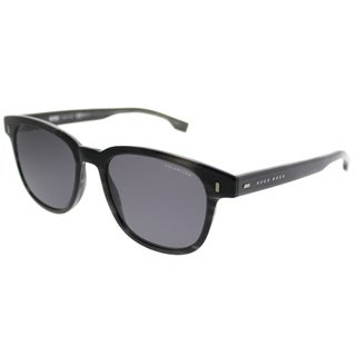 Hugo Boss Rectangle BOSS 0956 2W8 M9 Unisex Grey Horn Frame Grey Lens Sunglasses