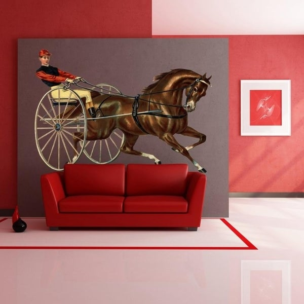 Horses Running Window View Repositionable Color Wall Sticker Wall Mural