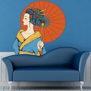 "Geisha Umbrella Japan Full Color Wall Decal Sticker K-685 FRST Size 52""x52"""