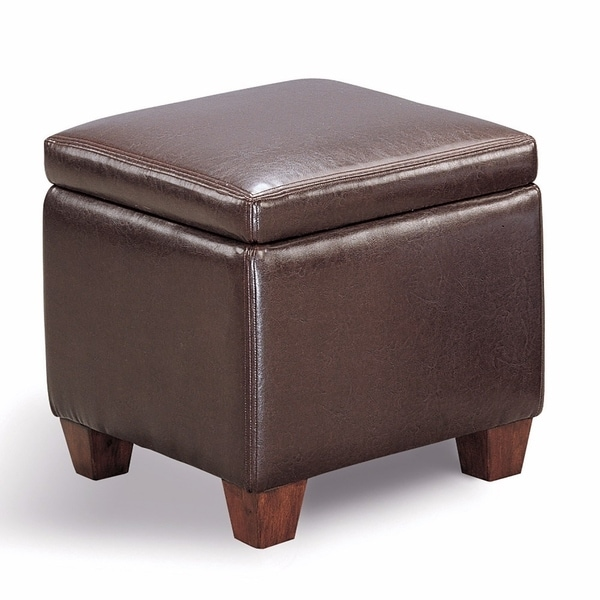 Contemporary Leather Cube Storage Ottoman Dark Brown Free Shipping Today 20974613