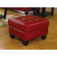 Lavish Leather Ottoman With Tufted Seat, Red