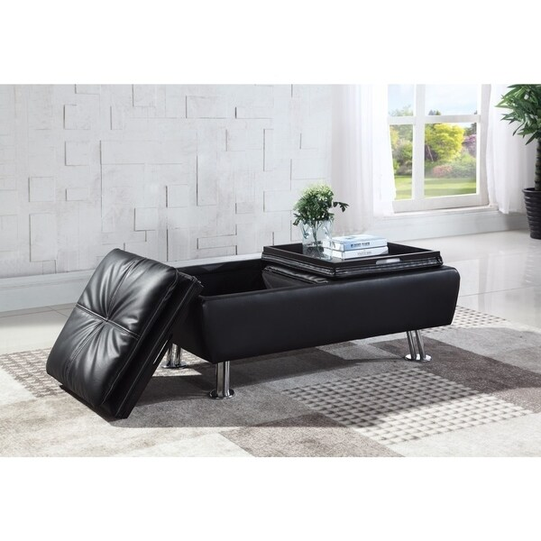 Faux Leather Storage Ottoman With Reversible Tray Tops Black
