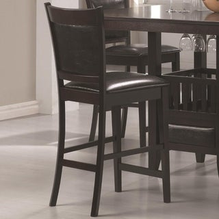 Counter Height Chair Vinyl Padded Seat & Back, Espresso  Brown, Set of 2