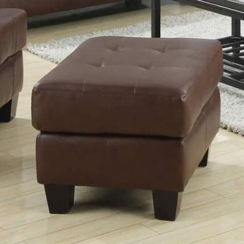 Deluxe Ottoman With Leather Upholstery, Dark Brown