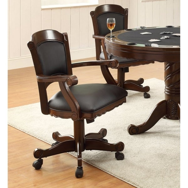 Snug Arm Game Chair With Casters And Fabric Seat And Back, Brown