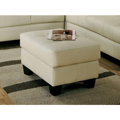 Deluxe Leather Ottoman With Tufted Seat, Cream
