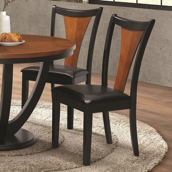 Shop Two Tone Dining Side Chair Amber Brown Amp Black Set