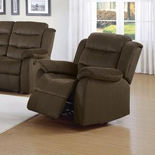 Debonairly Trimmed Glider Recliner Chair, Chocolate Brown