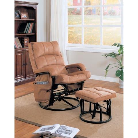 Downrightly Relaxing Glider Chair with Ottoman, Brown
