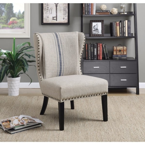 Vintage Inspired Accent Chair Gray Blue