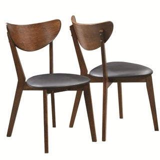 Quaint Dining Side Chair with curved Back, Brown & Black, Set of 2