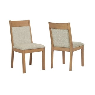 Wooden Dining Side Chair, Oatmeal Brown and Gray , Set of 2