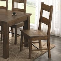 Armless Wooden Dining Side Chair, Rustic Golden Brown, Set of 2