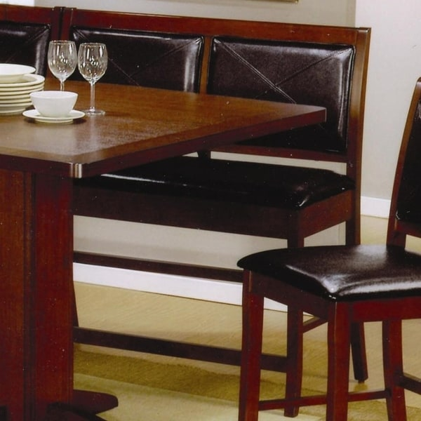 Counter Height Dining Bench With Faux Leather Seat And Back Dark Brown Set Of