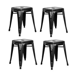 "AmeriHome Loft Kids Rom 18"" Metal Black Bar Stool - 4 Piece"
