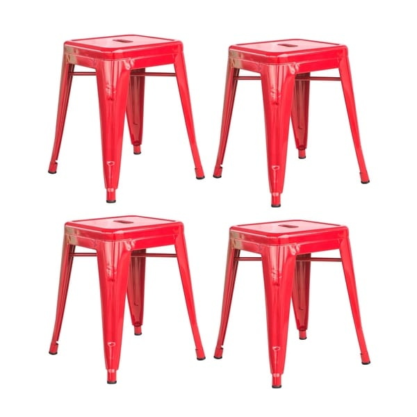 Shop Offex Loft Kids Room 18 Quot Metal Red Bar Stool 4