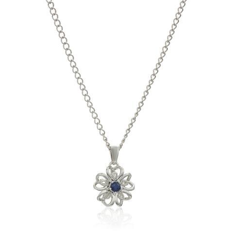 "Sterling Silver Blue Sapphire Black Flower Pendant Necklace, 18"""