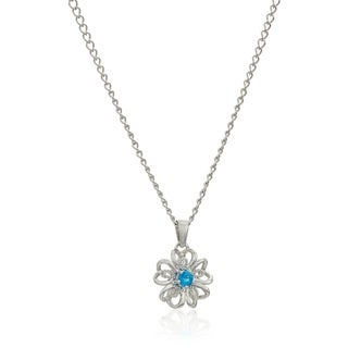 "Pinctore Sterling Silver Apatite Black Flower Pendant Necklace, 18"" - Blue"