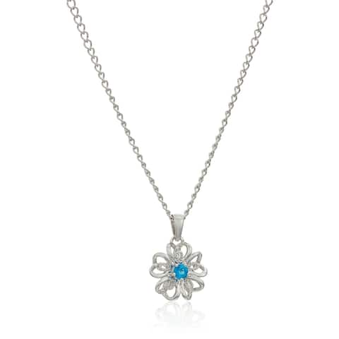 Sterling Silver Apatite Black Flower Pendant Necklace, 18""