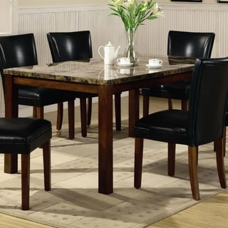 Contemporary Marble Look Top Dining Table,Brown