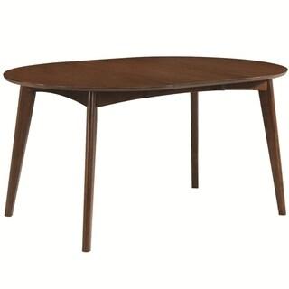 Round Mid century modern Dining Table, Dark Walnut Brown