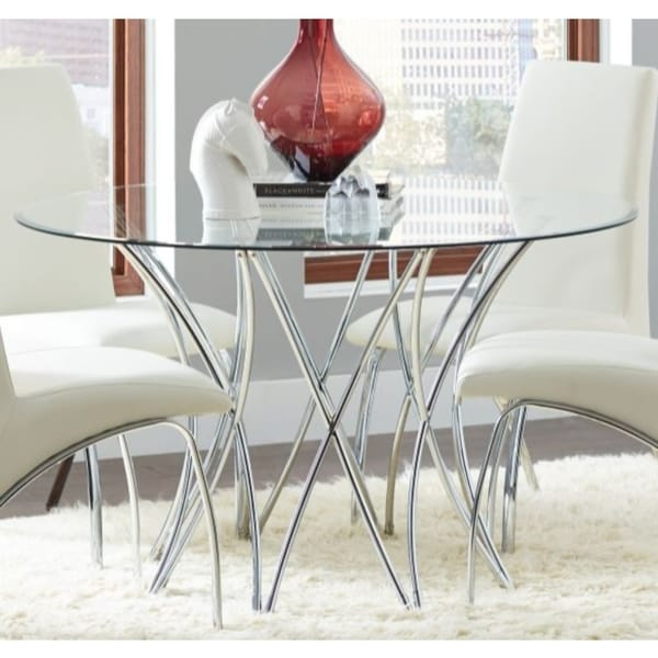 Round Gl Top Dining Table With Chrome Base Clear
