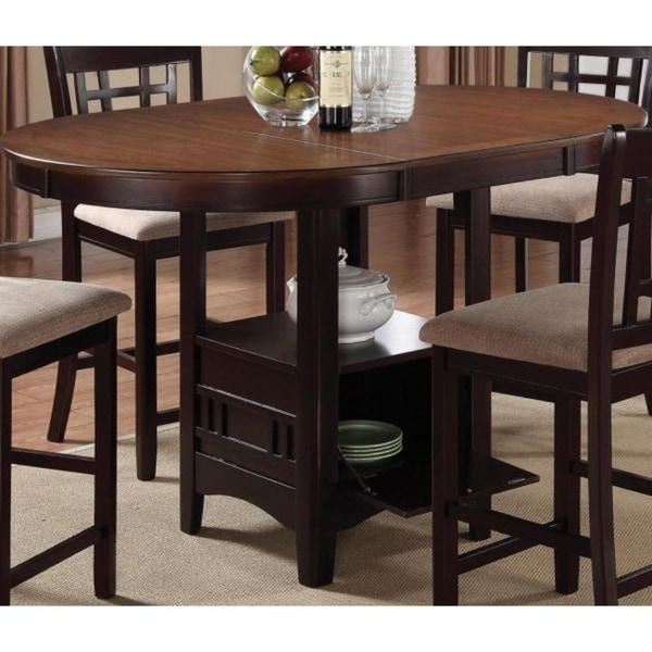 Shop Dual Tone Counter Height Dining Table With Storage Base Brown