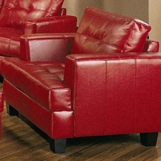 Comfy Sofa Chair With Leather Upholstery, Red