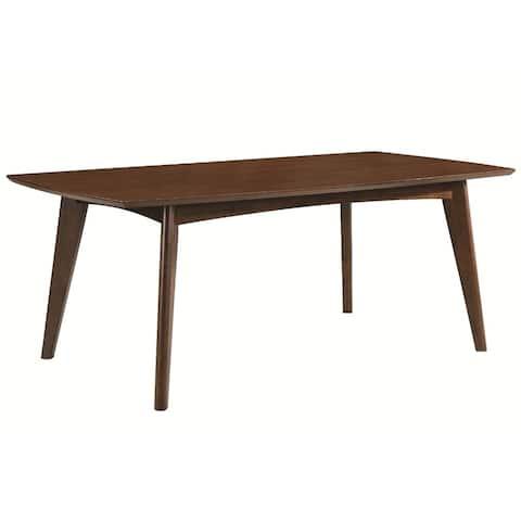 Mid-century Modern Wooden Dining Table, Dark Walnut Brown