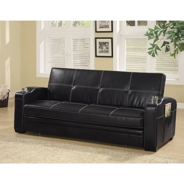 Faux Leather Sofa Bed With Storage And Cup Holders Black