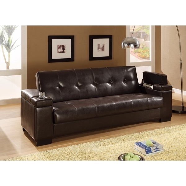 Shop Modish Faux Leather Convertible Sofa Bed with Storage, Brown ...