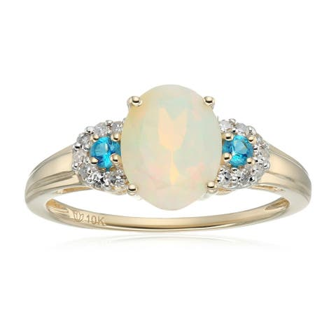 Pinctore 10k White Gold Ethiopian Opal, Diamond 3-Stone Engagement Ring, Size 7 - Blue