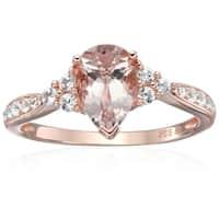 Pinctore SterSilver Morganite & Created White Sapphire Classic Engagement Ring - peach