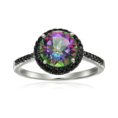 Sterling Silver Mystic Topaz and Black Spinel Halo Engagement Ring - Green