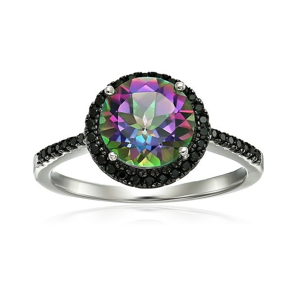 ad0a0e126 Shop Pinctore Sterling Silver Mystic Topaz and Black Spinel Halo Engagement  Ring - Green - On Sale - Free Shipping Today - Overstock - 20976381