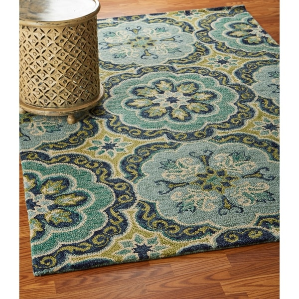 LR Home Hand Tufted Dazzle Fantastic Floret Green Wool Rug - 5' x 7'9