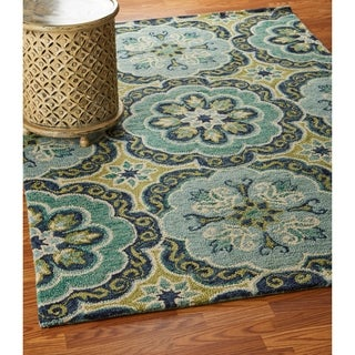 LR Home Hand Tufted Dazzle Fantastic Floret Green Wool Rug - 5' x 7'9""