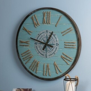 "Santorini Oversized 31.5"" Diameter Coastal Round Wall Clock"