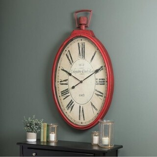 """Tildyn Oversized 28.5"""" x 49.5"""" Traditional French Country Wall Clock"""