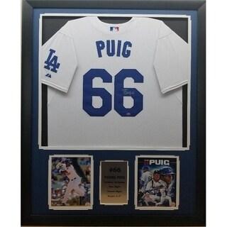 44x36 Framed Autographed Custom Jersey - Yasiel Puig Los Angeles Dodgers