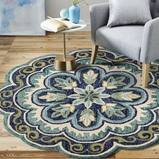 LR Home Hand Tufted Dazzle Fantastic Floret Green Wool Rug - 4' Round