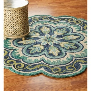 LR Home Hand Tufted Dazzle Fantastic Floret Green Wool Rug - 6' Round