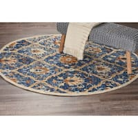 LR Home Hand Tufted Dazzle Jacobean Diamond Navy Wool Rug - 4' x 4'