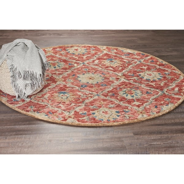 LR Home Hand Tufted Dazzle Royal Gardens Red Wool Rug - 4' x 4'