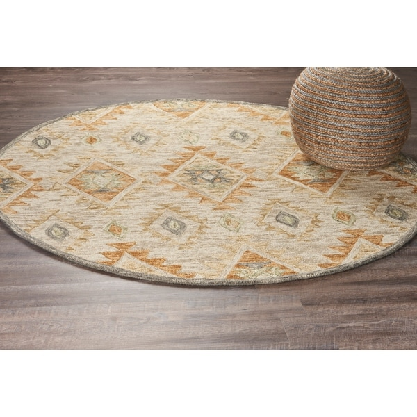 LR Home Hand Tufted Dazzle Contemporary Diamond Beige Wool Rug - 6' x 6'