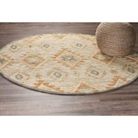 LR Home Hand Tufted Dazzle Contemporary Diamond Beige Wool Rug - 4' x 4'