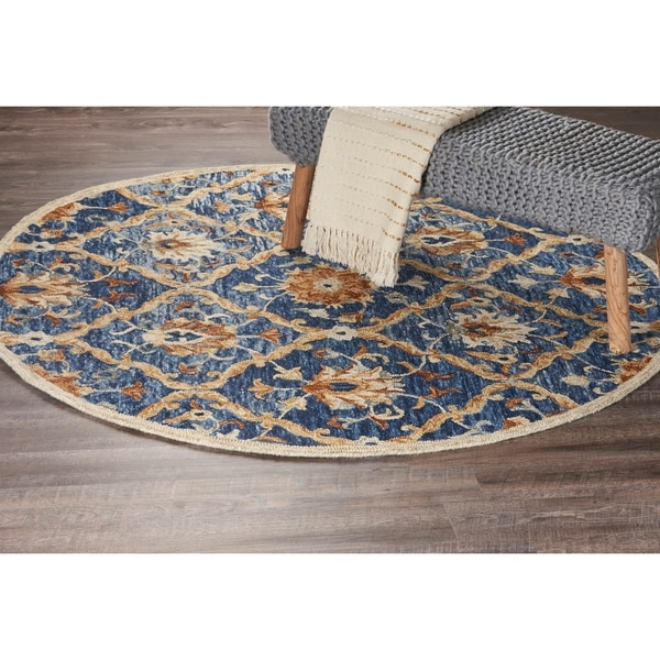 LR Home Hand Tufted Dazzle Jacobean Diamond Navy Wool Rug - 6' x 6'