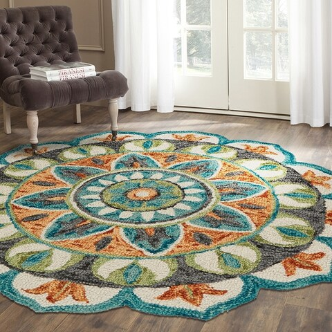 LR Home Hand Tufted Dazzle Garden Medallion Teal/ Green Wool Rug - 6' x 6'