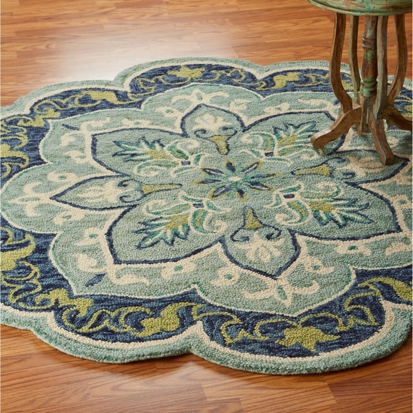 LR Home Hand Tufted Dazzle Efflorescent Teal Wool Rug - 4' x 4'