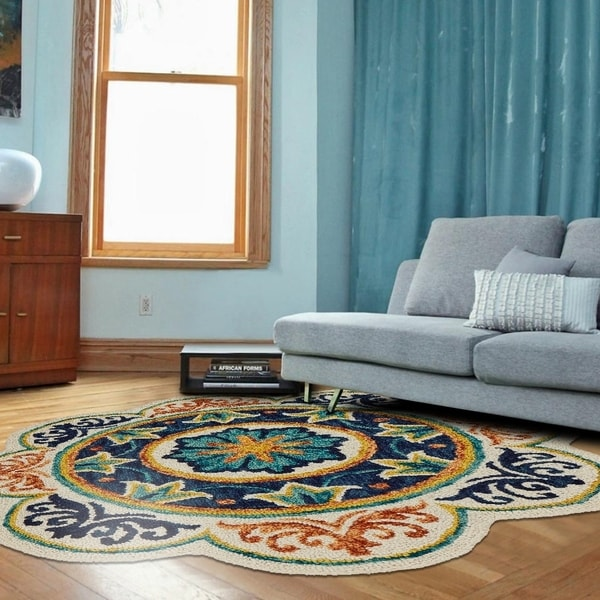 LR Home Hand Tufted Dazzle Botanical Medallion Ivory/ Blue Wool Rug - 6' x 6'